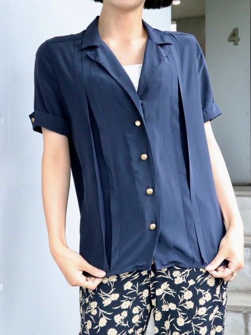 CHANEL open collar silk navy blouse