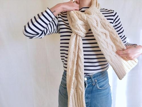 vintage aran knit muffler