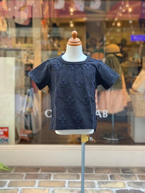 KIDS:melt【メルト】/フローラルレースフロントTEE(BLACK/100〜120cm)Tシャツ