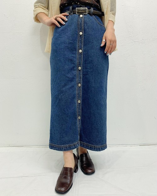 (PAL) front button denim skirt