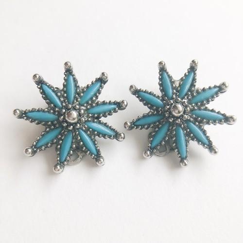turquoise flower earring[e-1119]