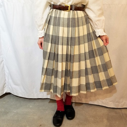 check pattern pleats skirt[IK-9]