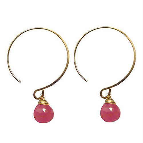 Round Hook Pierce (Pink Sapphire) ラウンドフックピアス(ピンクサファイア)
