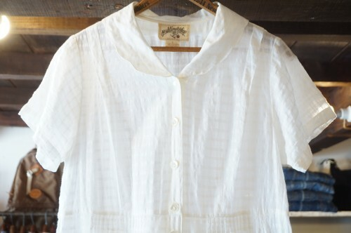 70-80's sheer cotton button up long Dress