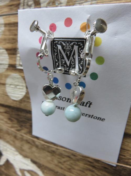 夏本番 青い宝石ラリマーのイヤリング 定形外郵便代込