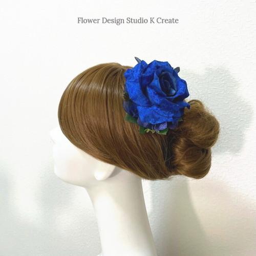 青い薔薇と紫陽花のヘアクリップ 髪飾り バラ フラメンコ  ブルー ダンス 発表会 結婚式