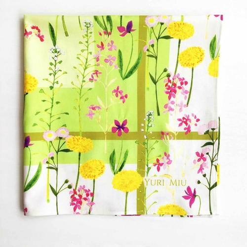 ハンカチ・お弁当包み|Flower field(スミレ、タンポポ、etc♪)グリーン / コットン