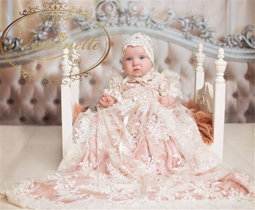 New Baby Girls Christening Gown Baptism Dress Infant Toddler Clothes Lace Applique Blush Heirloom Gown set with Headpiece