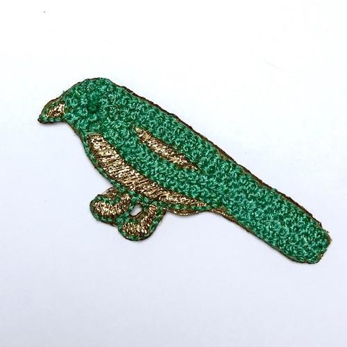 小鳥のワッペン エメラルドグリーン