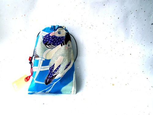 -Waterfowls-  ビンテージ着物リメイク 水鳥きんちゃく 巾着
