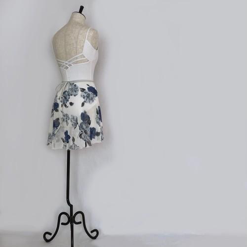 """❖""""Fiorina"""" Ballet Wrap Skirt - Camellia BLUE×WHITE [Sheer]( カメリア・ブルー×白 [シアー])"""