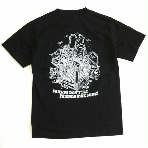 "Cycle Trash 20th anniversary ""Pocket"" T-shirt -Black - by Burrito Breath"