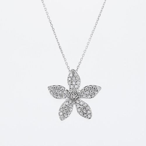 Starflower K18WG Diamond Pendant Necklace (ダイヤモンド ペンダントネックレス)