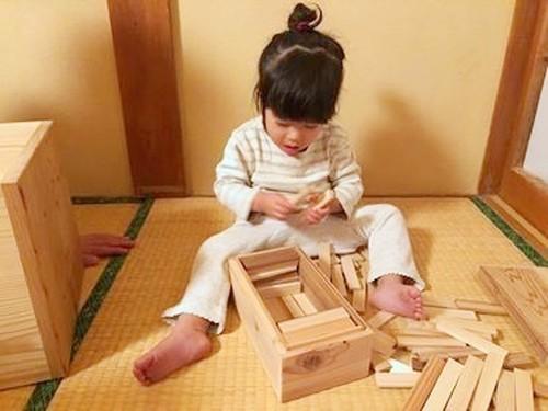 親が子のために自ら完成させる ずば抜けた【百年杉】積み木/80ピース/紙箱入り