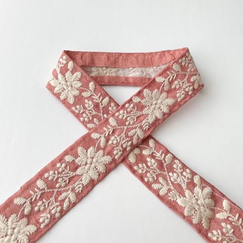 単色刺繍B細 ピンク