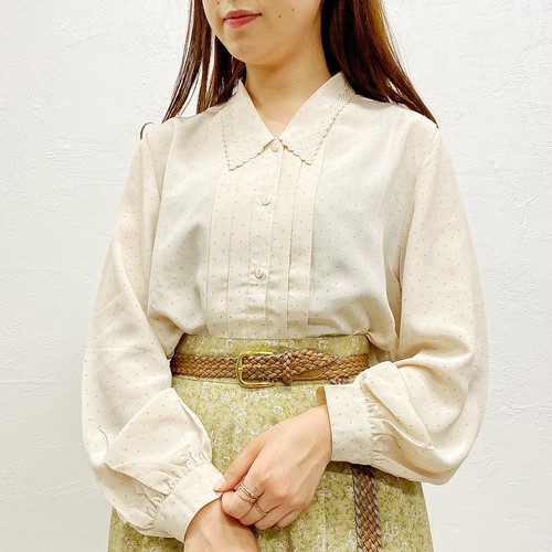 (LOOK) lace collar dot l/s blouse