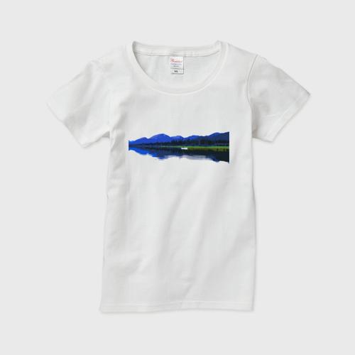 レディースTシャツ カナダ・ユーコン川 白