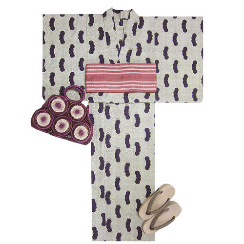 アフリカ布の浴衣 女物18 紫の豆紋/ African Yukata for Women 18