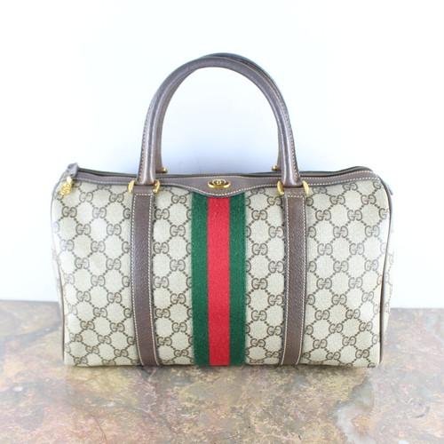 .OLD GUCCI SHERRY LINE GG PATTERNED MINI BOSTON SHOULDER BAG MADE IN ITALY/オールドグッチシェリーラインGG柄ミニボストンバッグ 2000000053721