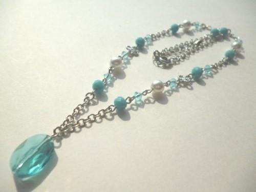 スワロフスキー・パールカットガラスのネックレス〈n250〉