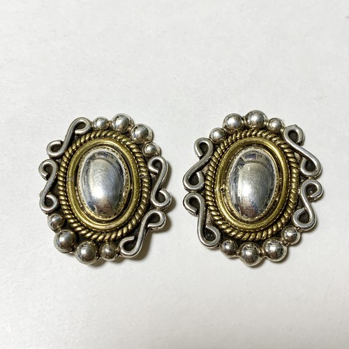Vintage 925 Silver & Brass Victorian Designed Earrings Made In Mexico