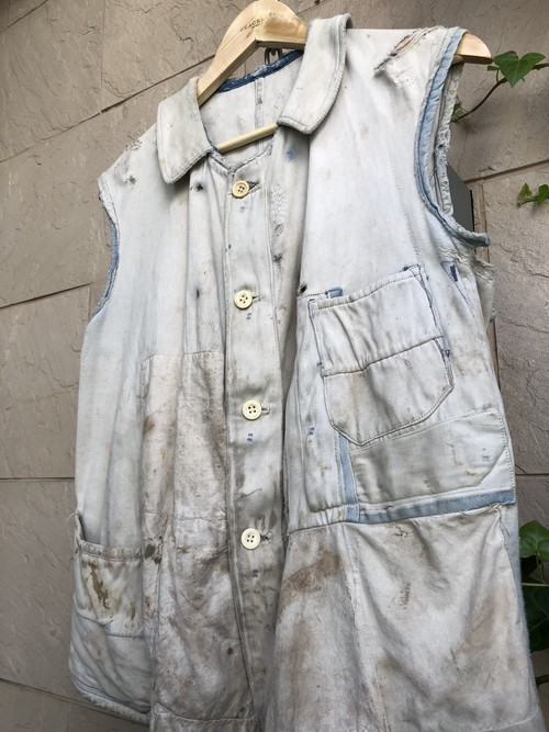 〜1940s French moleskin cut-off vest