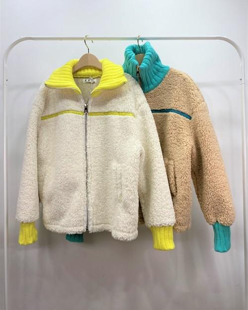 もこもこジップアップジャケット ジャケット もこもこ 韓国ファッション