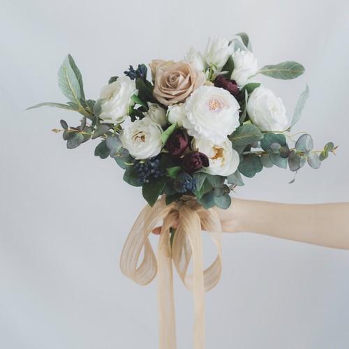 【Rental7泊8日】white green bouquet & boutonniere