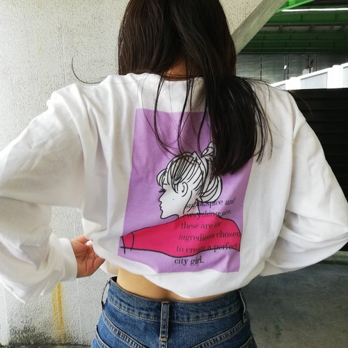 【city girl】long sleeve tshirt /pink