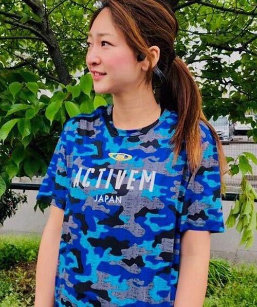 【ブルー】amjカモ柄Tシャツ ※マーキング非対応