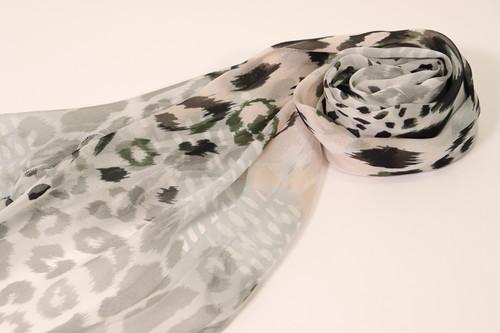 シルクシフォンスカーフ(少し小さめ)(豹)