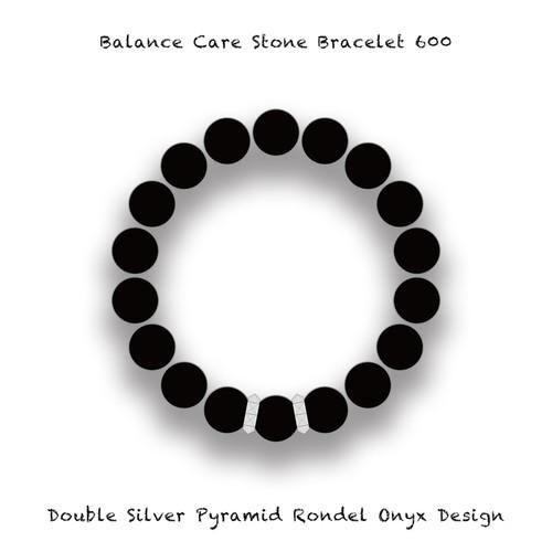 バランスブレスレット600 ダブル ピラミッドロンデル オニキス デザイン (10mm)