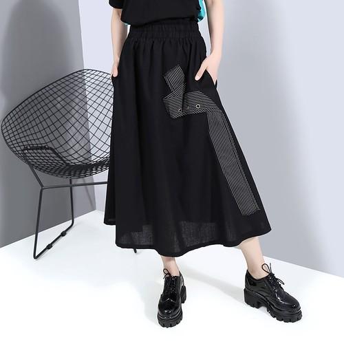 スカート 無地 ロング Aライン 韓国ファッション レディース ハイウエスト ウエストゴム 大人カジュアル 大人可愛い ガーリー