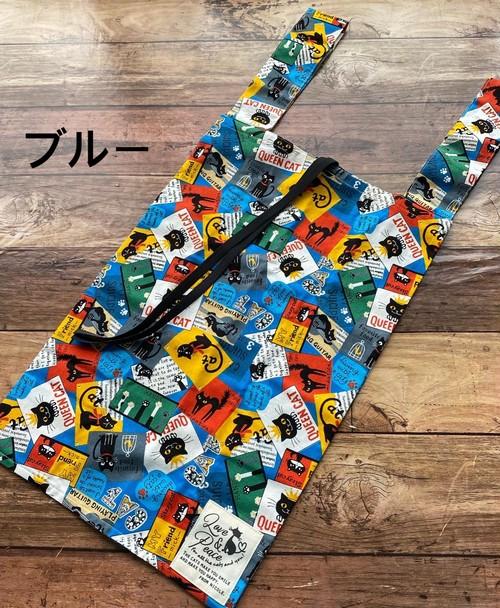 黒猫の布製エコバッグ*レジ袋と同じ形でたっぷり入る♪【黒猫柄アメコミ風】