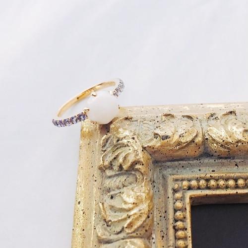 【kiyolakrei】キヨラクレイ キヨラフェ リング 11号  白珊瑚 サファイア K10 b5a02rw (CORALIA)