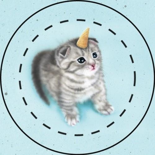 【雑貨】缶バッジ:ゆにゃんこ/ユニャコーン:とんがりコーン