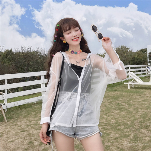 【トップス】夏新作透かし彫り日焼け止め薄い長袖シャツ