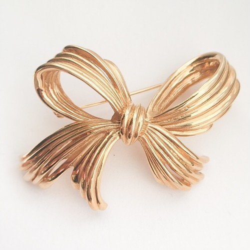 """D'ORLAN"" gold bow brooch[b-211]"