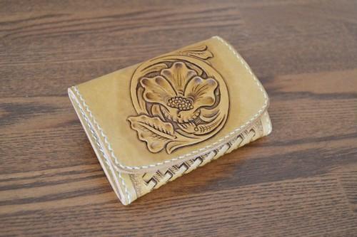 BOX小銭入れ ミニ財布 フラワーカービング&バスケット アンティークバージョン