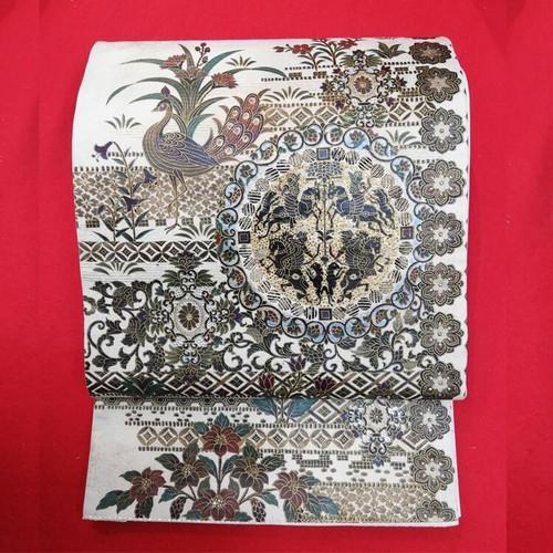 袋帯 R11030401 スワロフスキー 漆箔袋帯  ガード加工済 逸品袋帯 落款あり 【リユース】