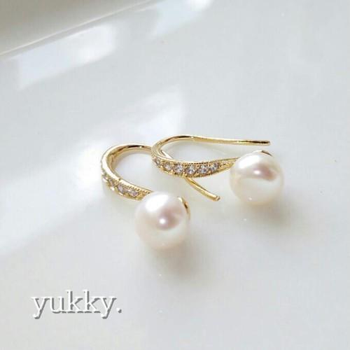 【再販】淡水真珠AAA☆ジルコニアフックピアス(ゴールド)