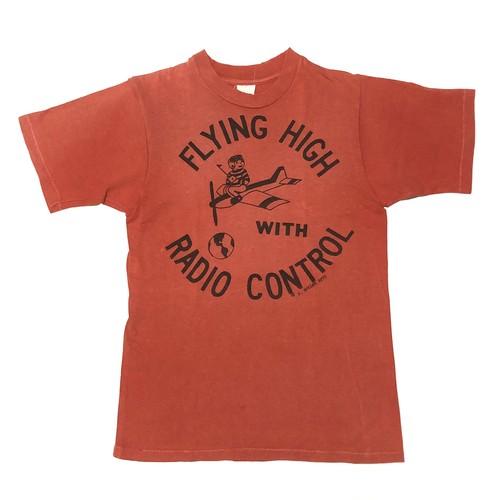 70's ビンテージ ラジコン 飛行機柄 Tシャツ スペシャルプリント FLYING HIGH RADIO CONTROL ©1975