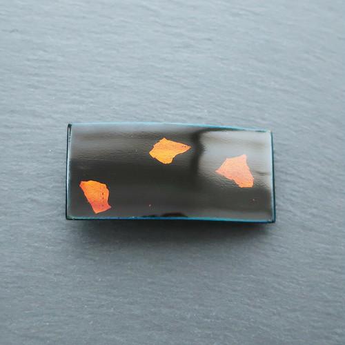 飛騨春慶塗 バレッタ 小 青×箔 (B001)
