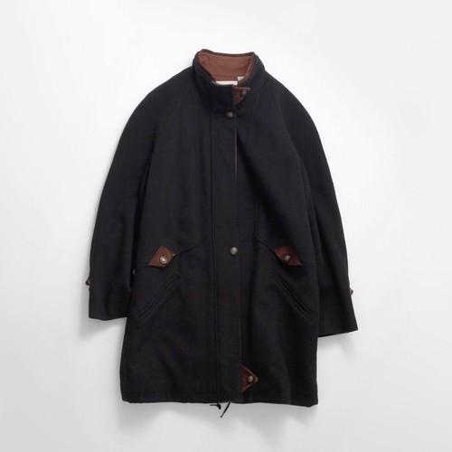 90's スタンドカラーウールコート ブラック×ブラウン