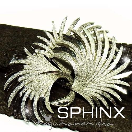 英国 SPHINX★大ぶりで華やかなリーフデザイン サンド テクスチャー ヴィンテージ ブローチ 1960s フェニックス 不死鳥