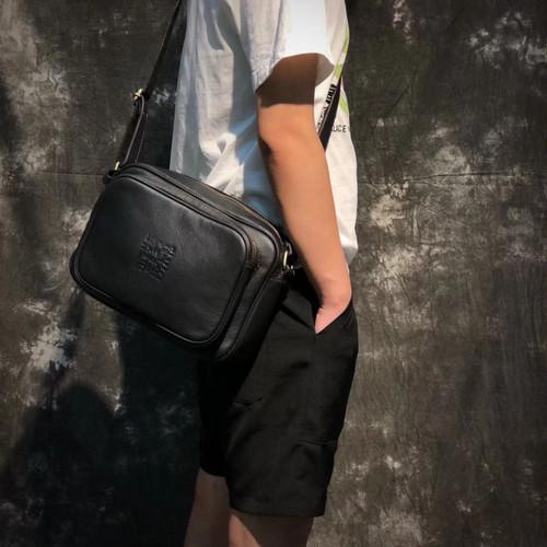 Soft Leather Message Bag Leather Shoulder Bag Vintage Bag Black ブラック ショルダーバッグ レザー 天然 ビンテージ (YYB99-0410498)