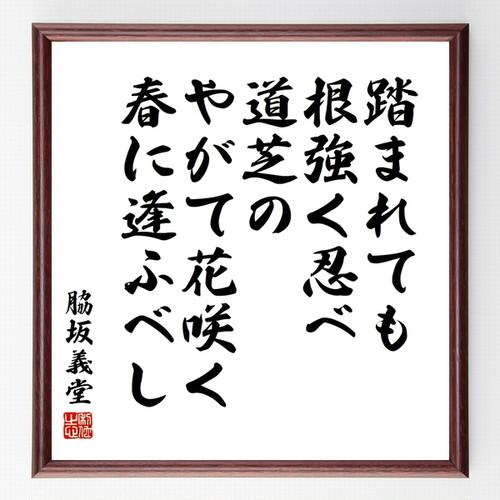脇坂義堂の名言書道色紙『踏まれても根強く忍べ道芝のやがて花咲く春に逢ふベし』額付き/受注後直筆(千言堂)Z0750