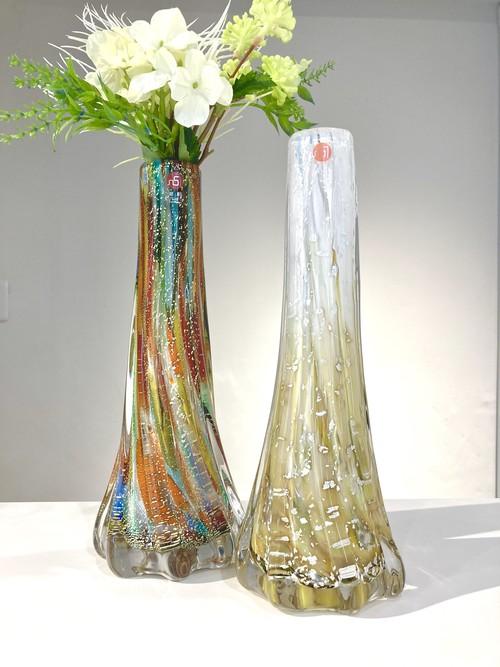 花瓶 金彩 銀彩 一輪挿し 津軽びいどろ おしゃれ 花器 花瓶