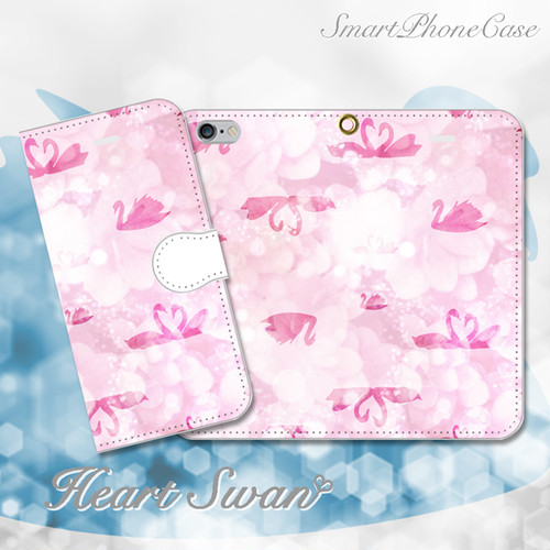 Heart Swan ピンク 手帳型スマホケース iPhone/Android