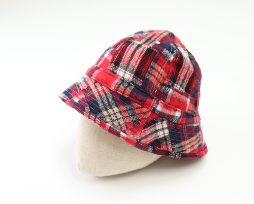 【Universal Works.】Naval Hat in Brushed Patchwork Red